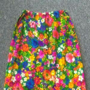 Flower Power Vintage 60's Maxi Skirt